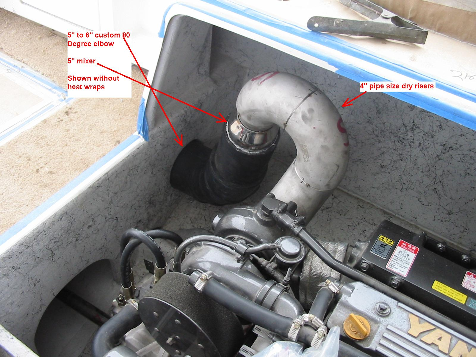Custom port exhaust riser - Same deal and like all or of exhaust designs we try and never not use all of the effective height you can in your engine room. In the case of the Bertram 28's and 31's, when heavy, most of the exhaust tube under the deck is below the LWL, so without a riser, you are playing with fire.