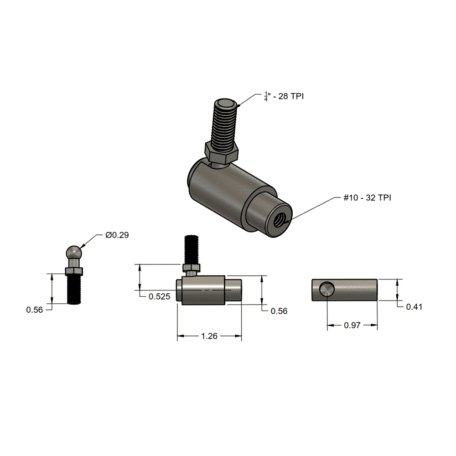 SMX C33 Control Cable Ball Joint Full Dimensions