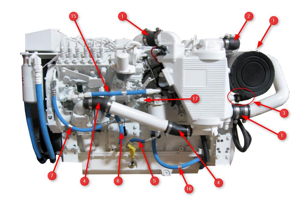 6BTA 5.9 330/370 Diamond Engine Hoses - Seaboard Marine  Hp Mercruiser Engine Wiring Diagram on
