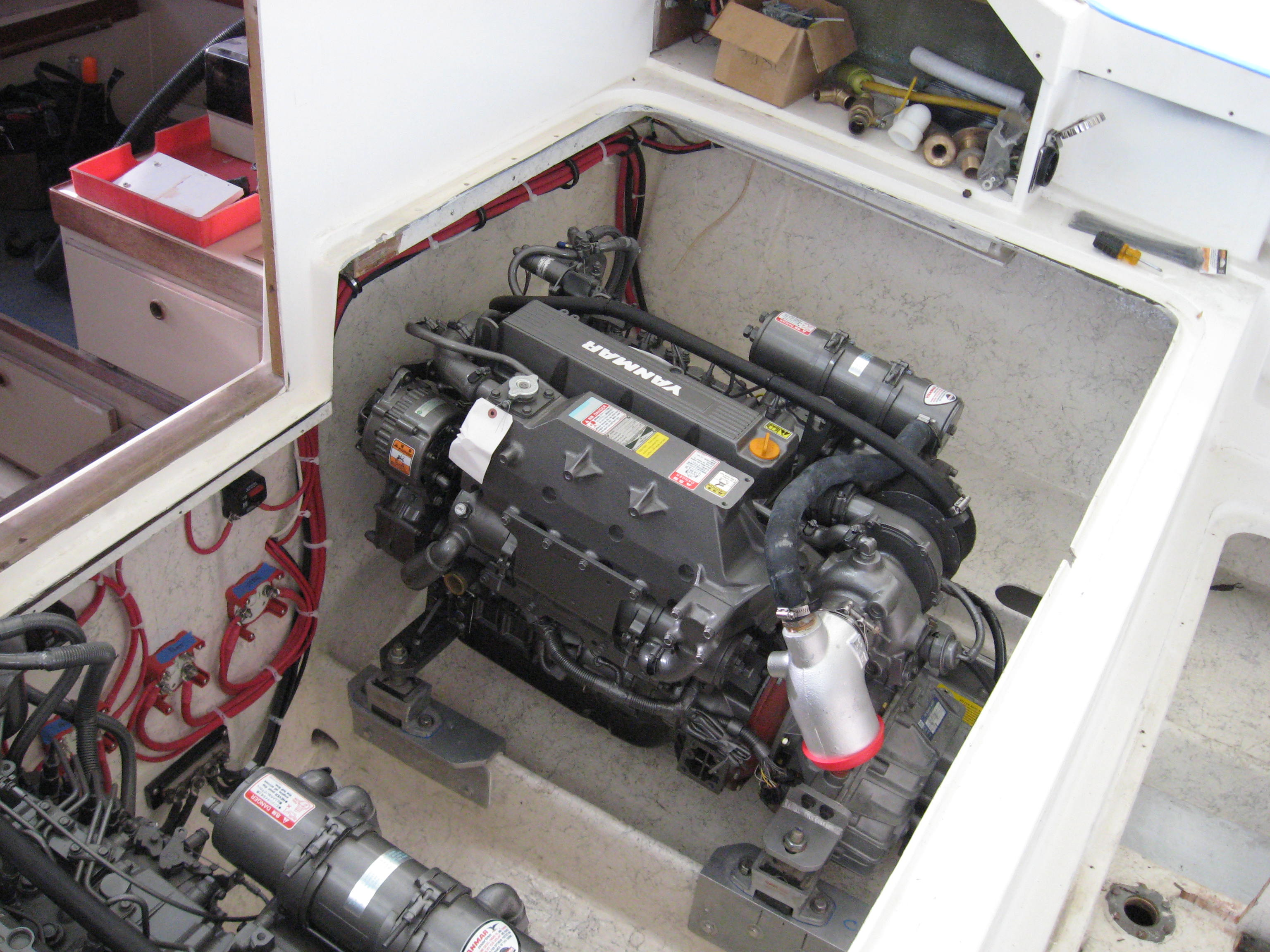 """Both engines set in place, """"Boat Yard Aligned"""" and bolted down - It was now """"Exhaust Time"""""""