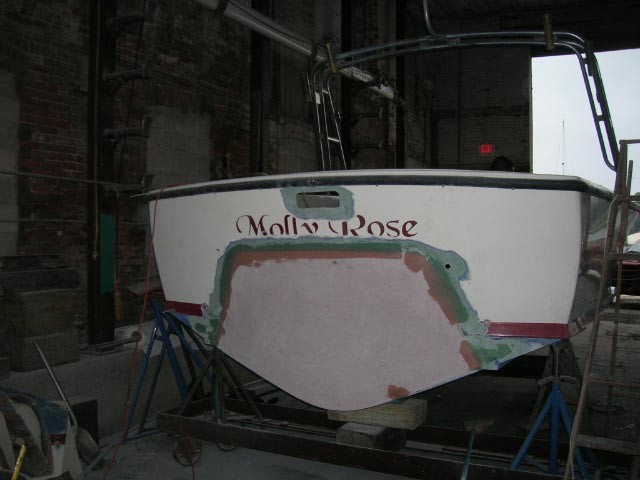 Transom patching & fairing all in AFTER the structural work is very important if you want a yacht quality appearance.