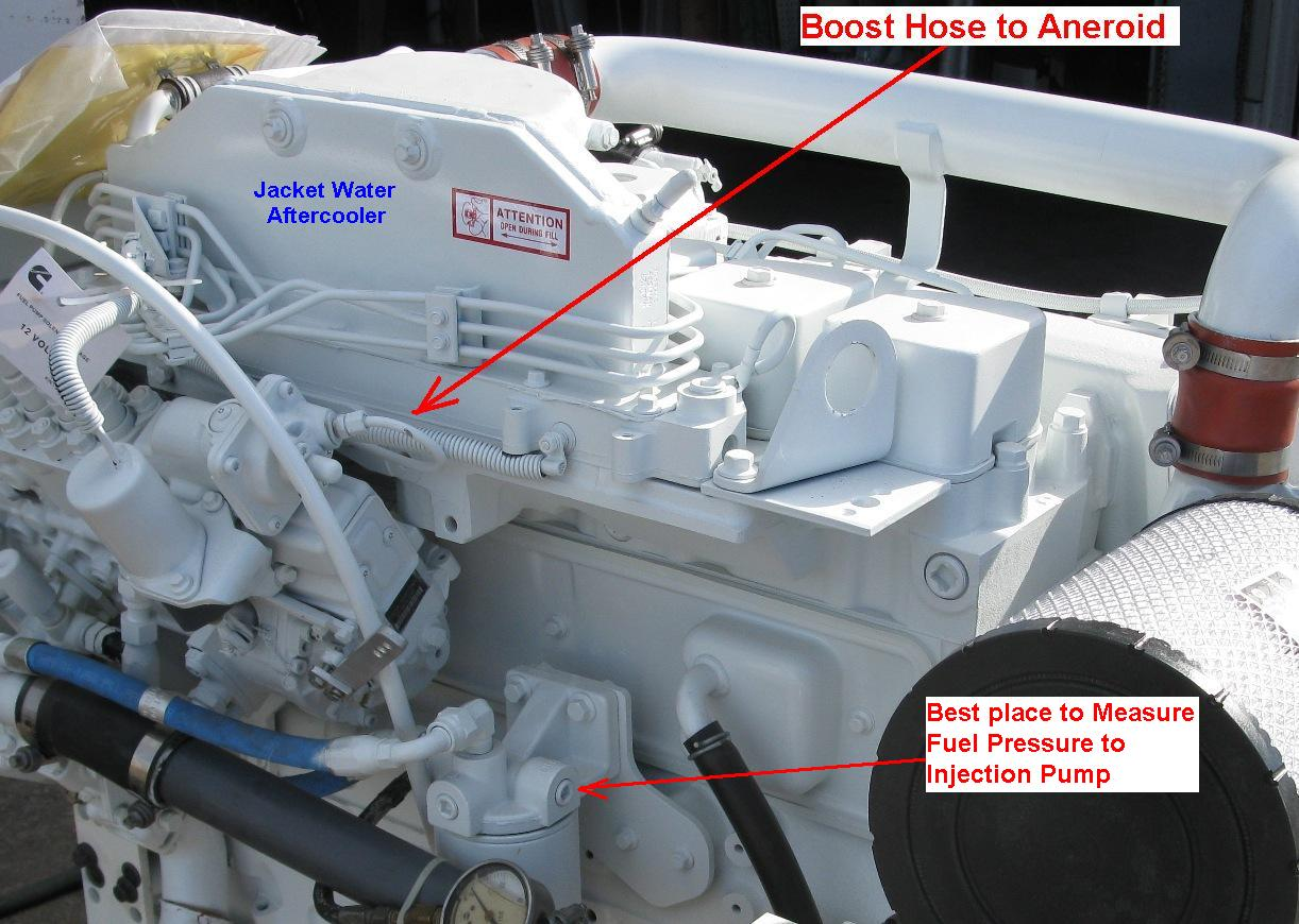 6BTA JWAC - Boost Hose to Aneroid & Measuring Fuel Pressure