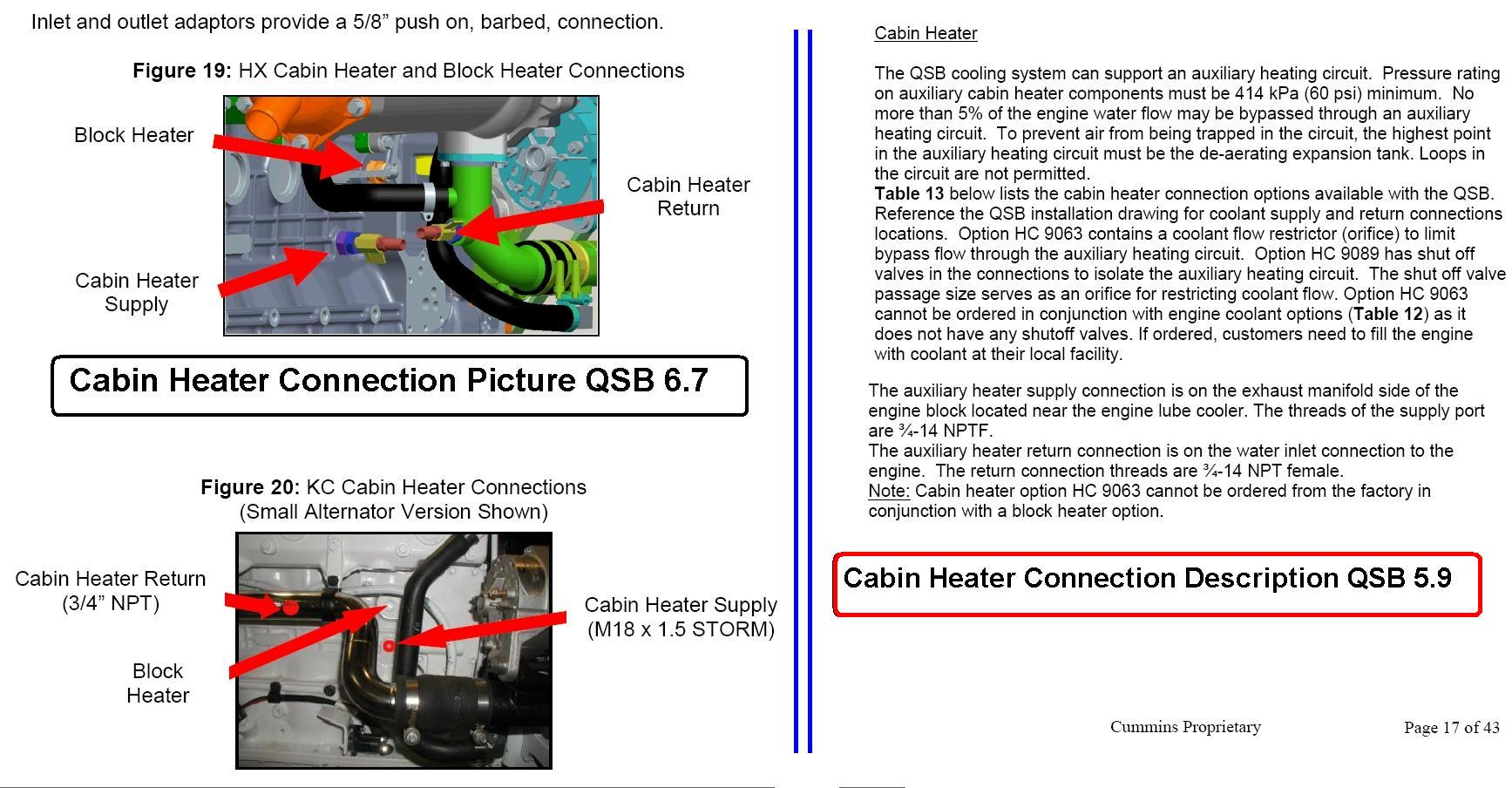 Cabin Heater Connection Ports for QSB 6.7 & QSB 5.9
