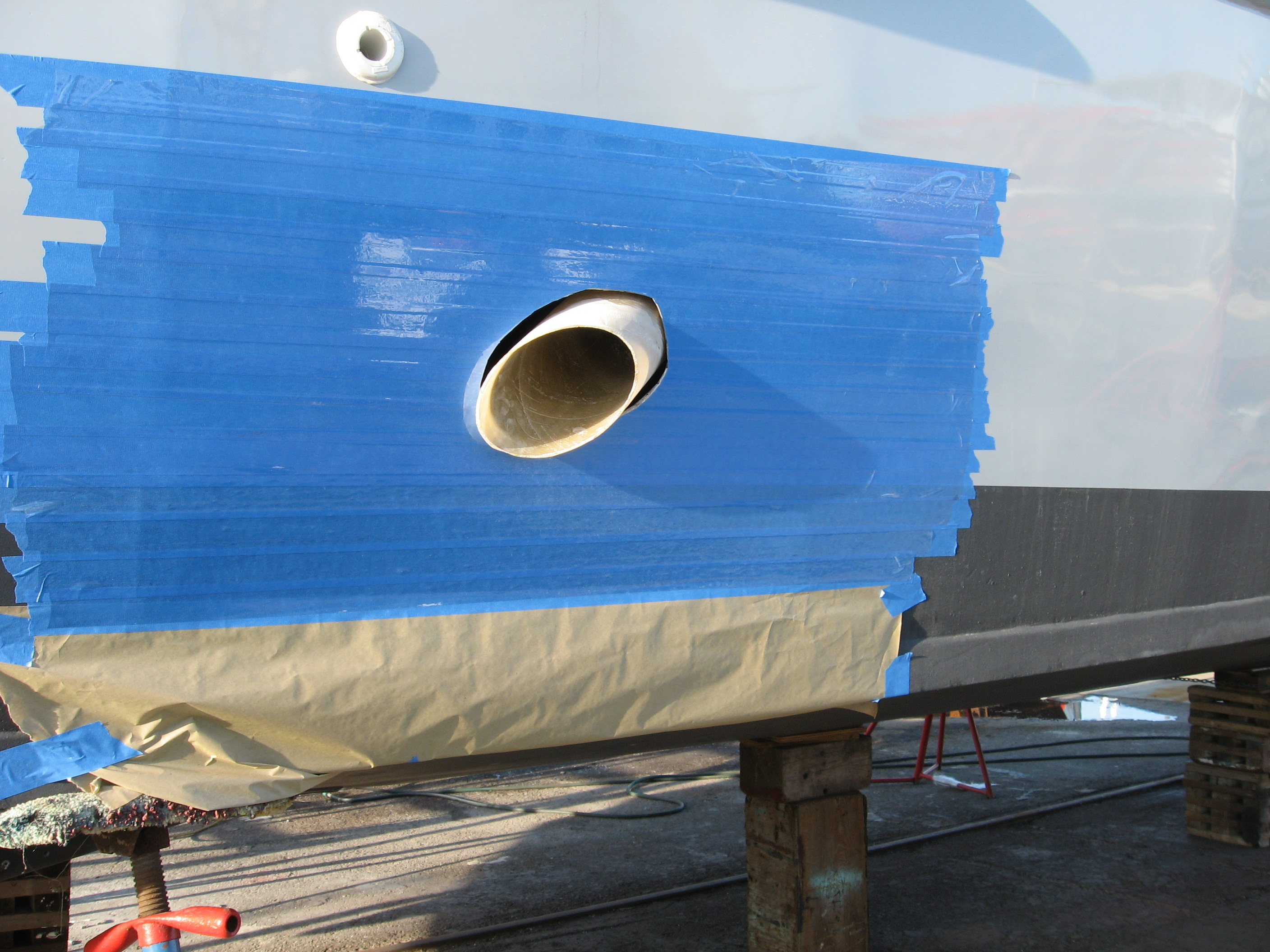 Side exhaust outlet tube mock-up - You need to protect the boat's LP paint job!!