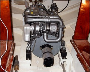 Yanmar 4JH3 100HP at 3800 RPM - never needed close to that much power to get hull speed