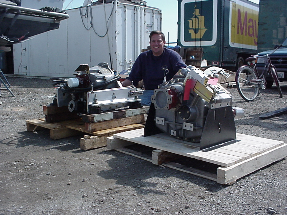 Ronnie with his original 302VLD V-Drive (about 6000 trouble free hours) and his new $10,000 (bobtail) ZF 350 V-Drive.