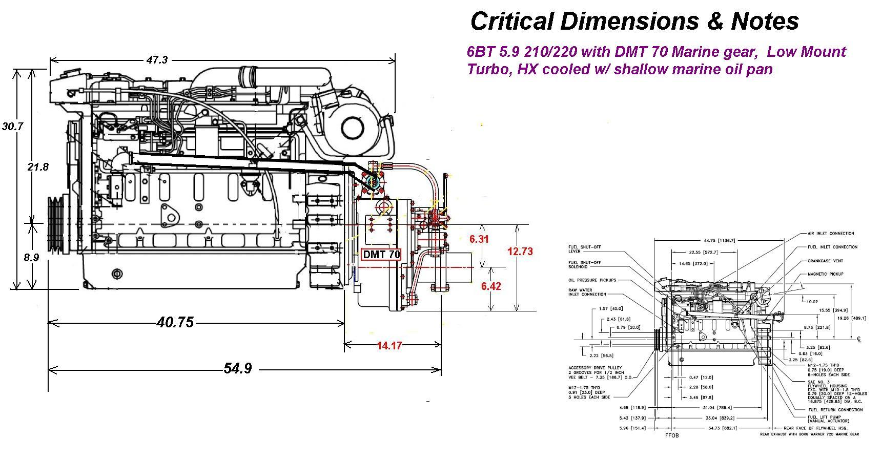 Heavy Duty Commercial Grade Cummins 6bt 210 Marine Engine