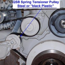 Please note Belt-Tensioner may be constructed of either steel, or 'Black Plastic""