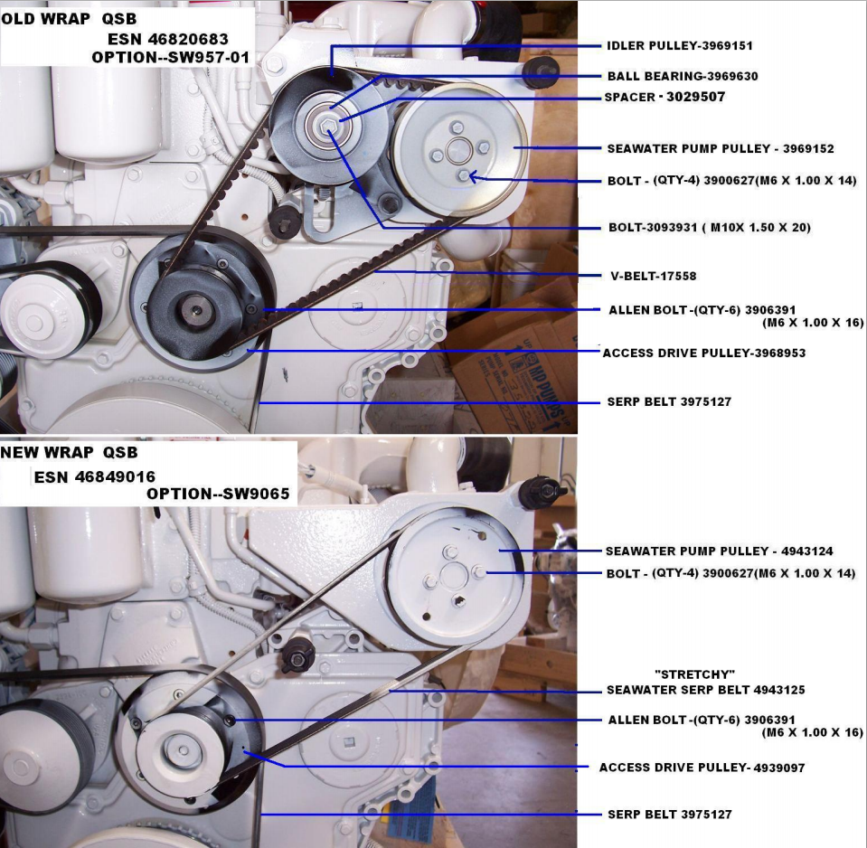Cummins Qsb 59 Specifications Seaboard Marine Vdo Rudder Gauge Wiring Diagram Early And Late Style Seawater Pulley Configuration