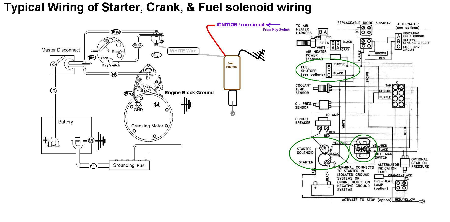 Starter Crank Fuel Shutoff Solenoid Wiring on john deere 850 alternator wiring diagram