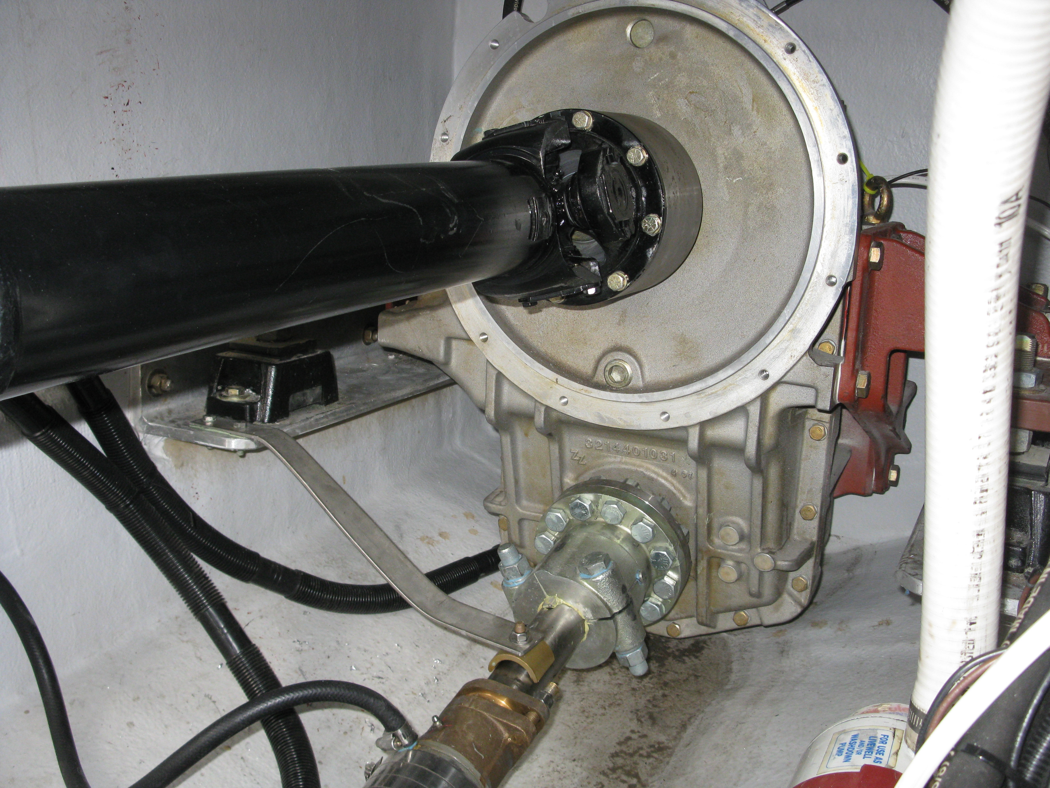 """Remote mounted ZF325IV just after a very hard sea trial. A little water from the packing gland with some oil/grease """"smudges"""" floating in the bilge."""
