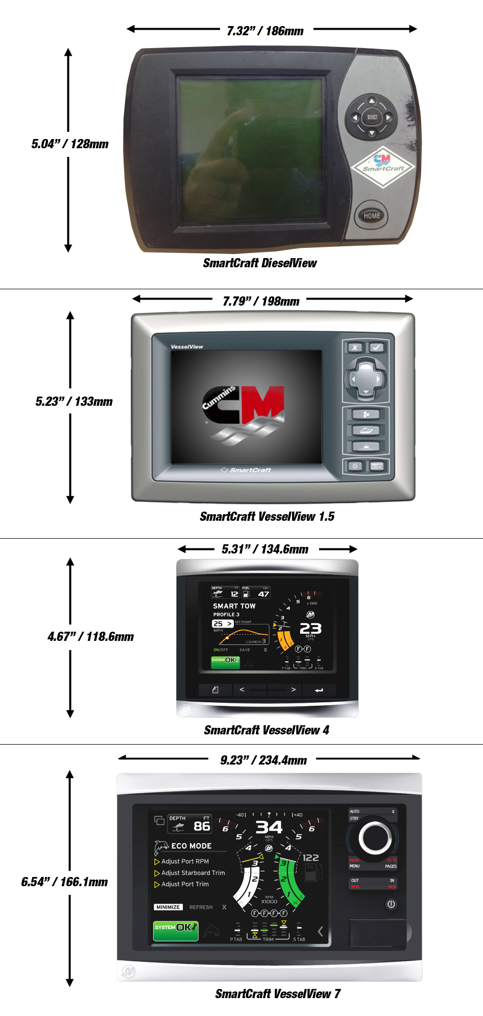Cummins Dieselview Display Upgrade Options Seaboard Marine Smartcraft Schematic Vesselview Digital Dimensions