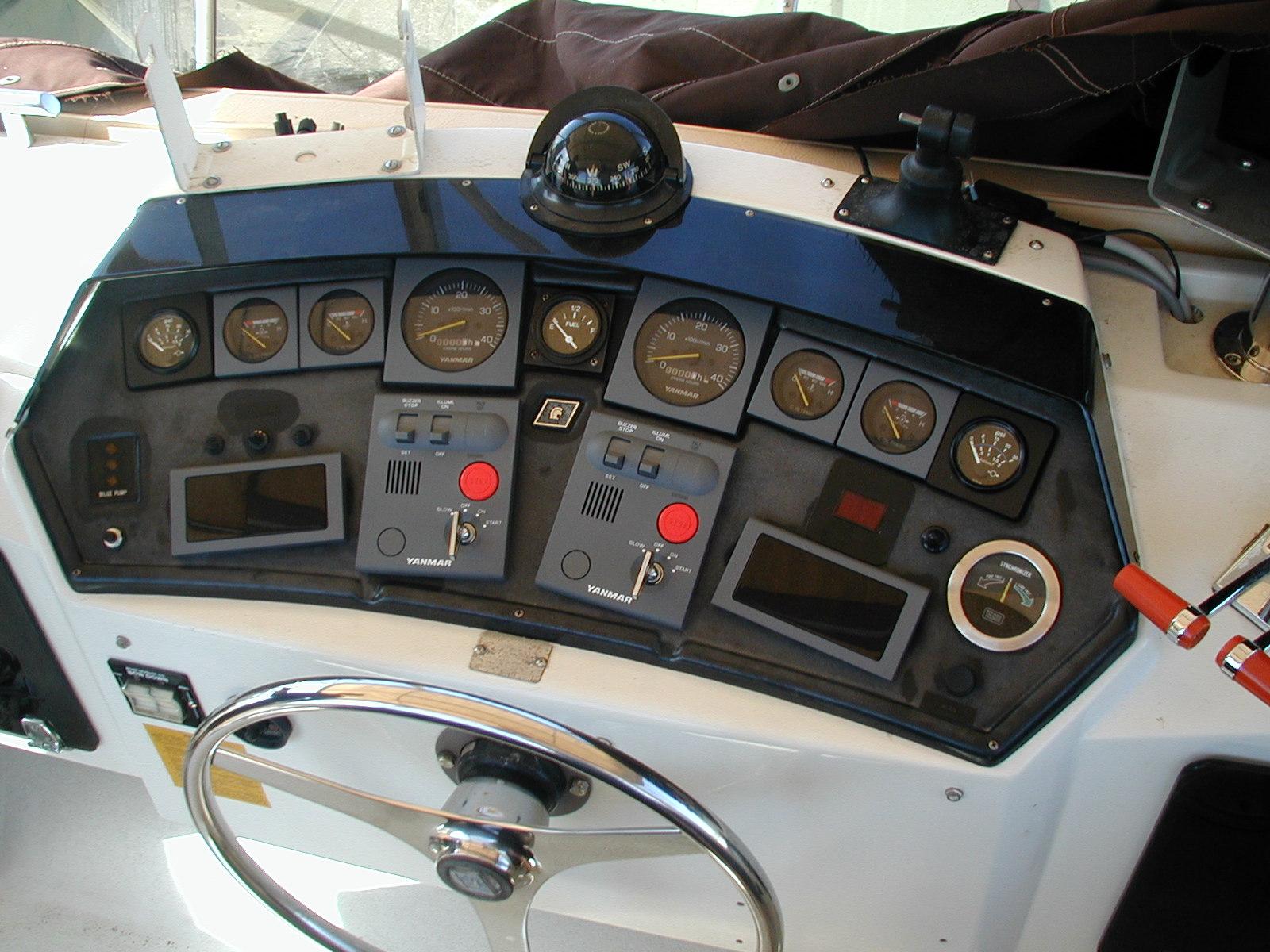 New engine instrumentation - New Yanmar gauges were installed in the original Trojan instrument panel.