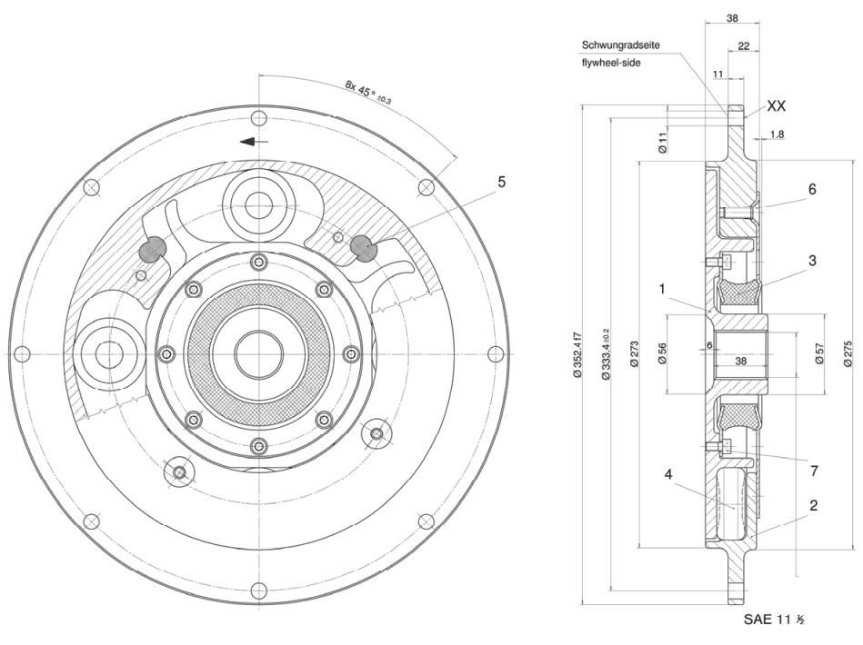 Vulkan Torflex Coupling ZF 220 (A / IV) Series Drawing