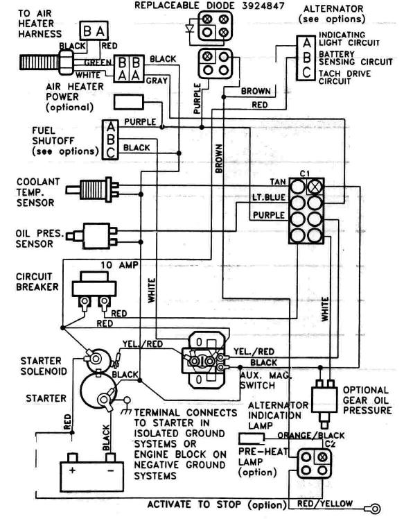 Starter Crank Fuel Solenoid Wiring Circuit 6bta 5 9 & 6cta 8 3 mechanical engine wiring diagrams yanmar marine alternator wiring diagram at bakdesigns.co