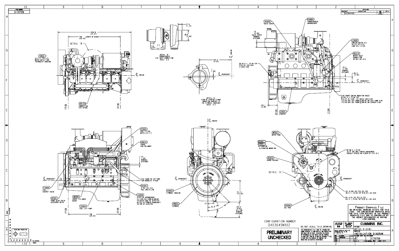 Cummins Engine Drawings on 6 cylinder turbo