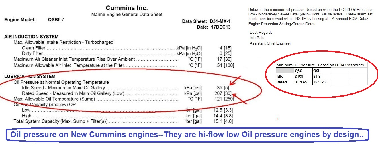 Cummins Marine Engine Oil Pressure Specifications - Seaboard