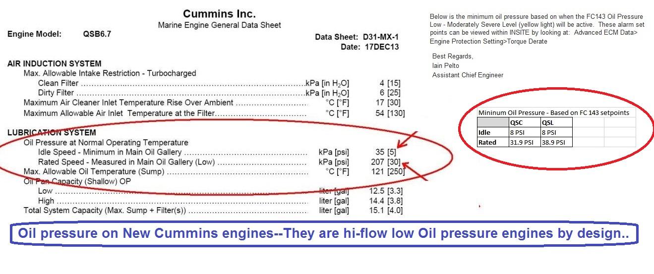 Cummins Marine Engine Oil Pressure Specifications
