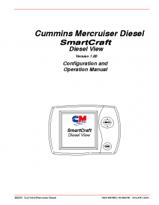 Cummins SmartCraft DieselView 1.0 Digital Display Manual