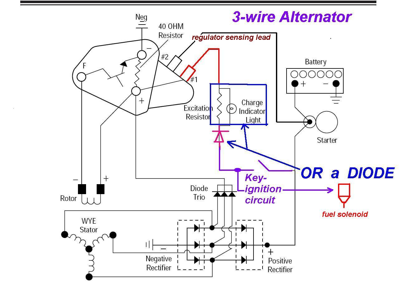 three wire alternator wiring diagram gm 3-wire alternator regulator diagram - seaboard marine