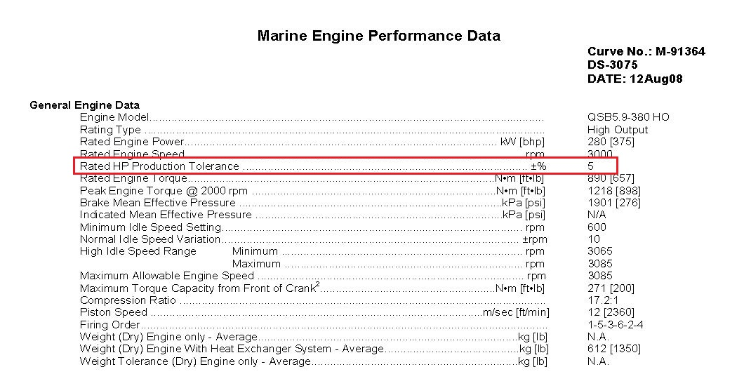 Cummins Marine Twin Engine Performance Difference Tolerances