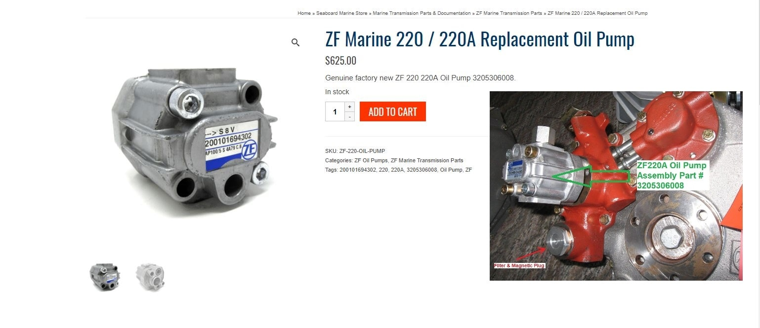 ZF Marine 220 / 220A Replacement Oil Pump