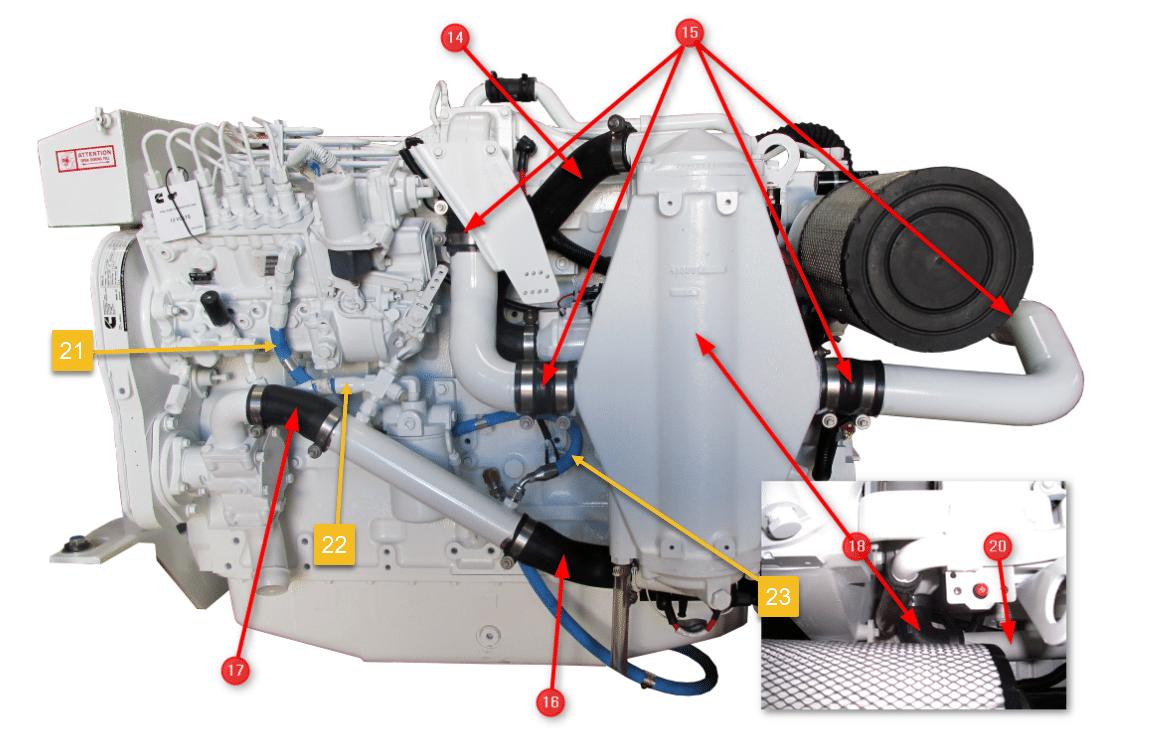 Cummins Marine 6CTA Engine Hoses AC side with all Fuel Lines